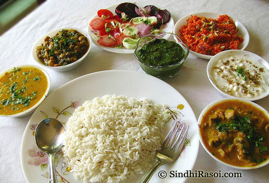 Chana paalak, jeera rice