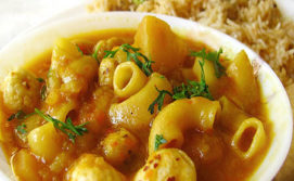 Macroni Potato Lotus seeds curry