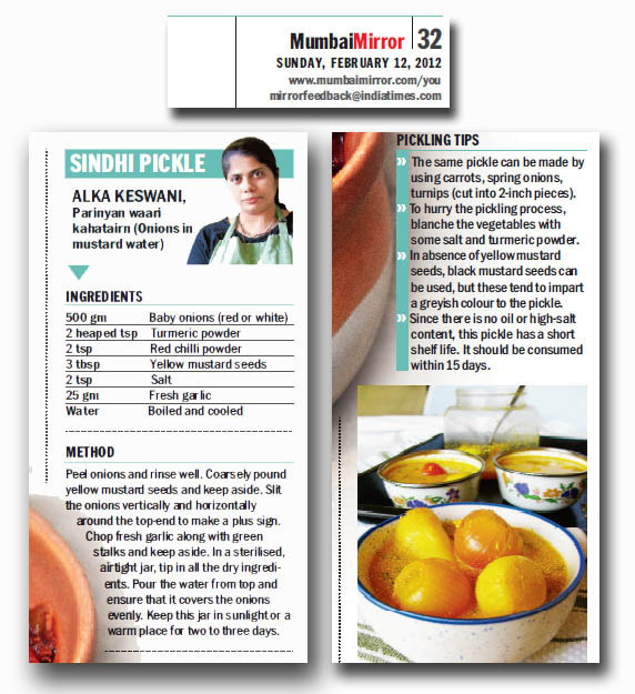 sindhi pickle recipe in Mumbai mirror