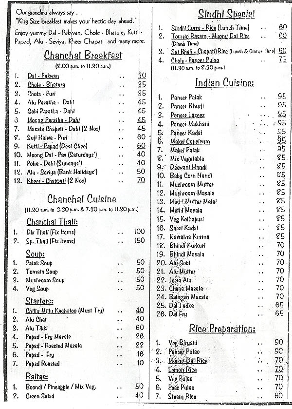 Chanchaldas kharghar menu