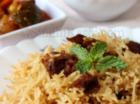 veg pulav with badi or sundried lentil cakes