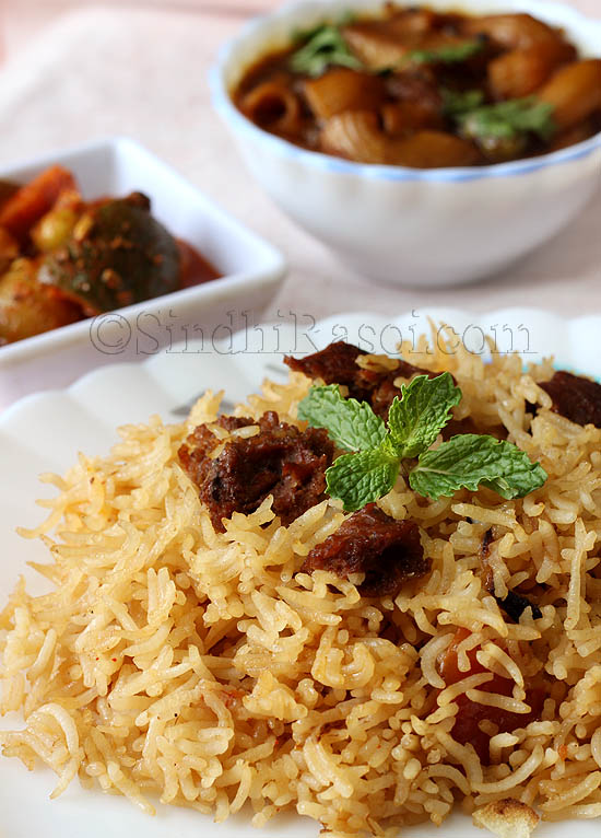 veg rice with badi or sundried lentil cakes