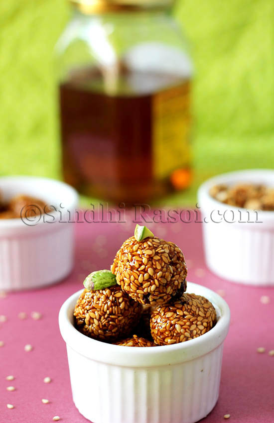 Til and honey laddu, Sesame seeds and honey balls