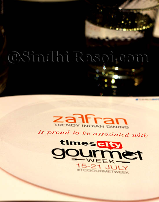 menu of Zaffran hotel