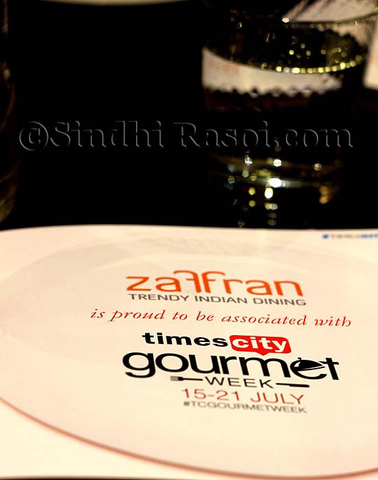 menu of Zaffran hotel